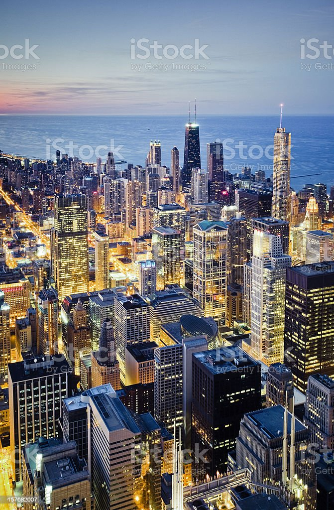 Aerial view of illuminated Chicago cityscape at dusk stock photo