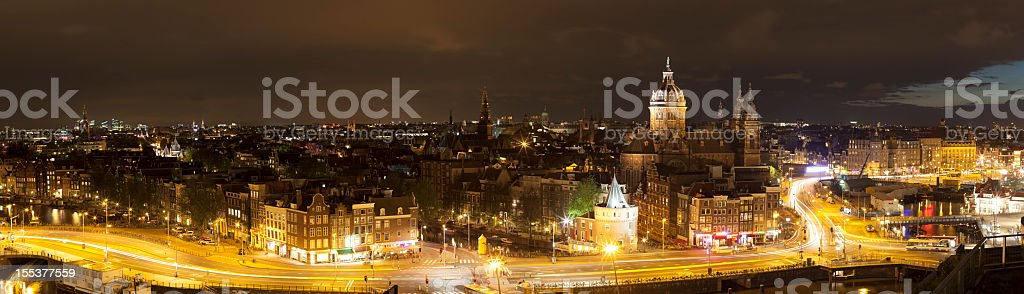 Aerial view of illuminated streets at night, Amsterdam, The Netherlands royalty-free stock photo