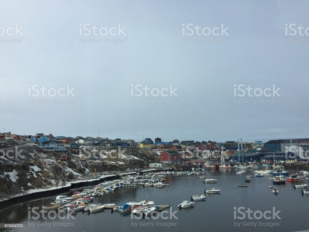 Aerial view of Ilulissat pier of Greenland stock photo