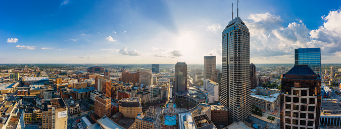 Aerial view of Indianapolis downtown Indiana