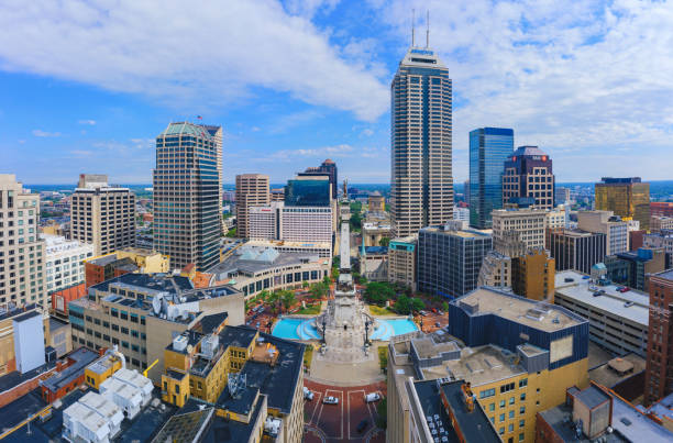 Aerial view of Indianapolis downtown Indiana stock photo