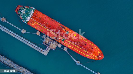 Aerial view of industrial cargo tanker, Aerial viww Oil/Chemical tanker at port.