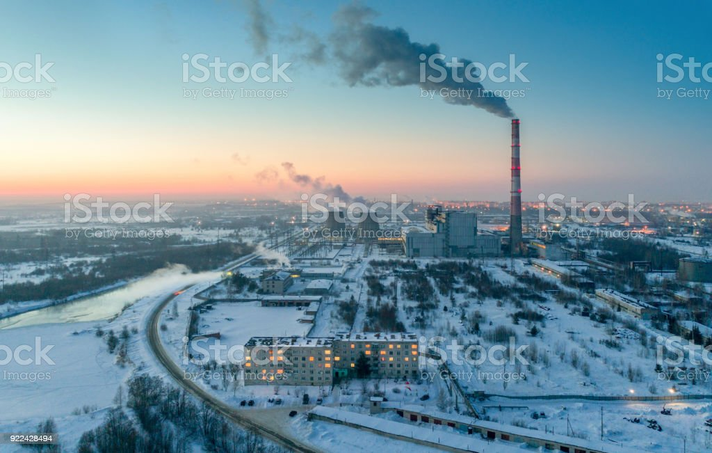 Aerial View of Industrial District at Night stock photo