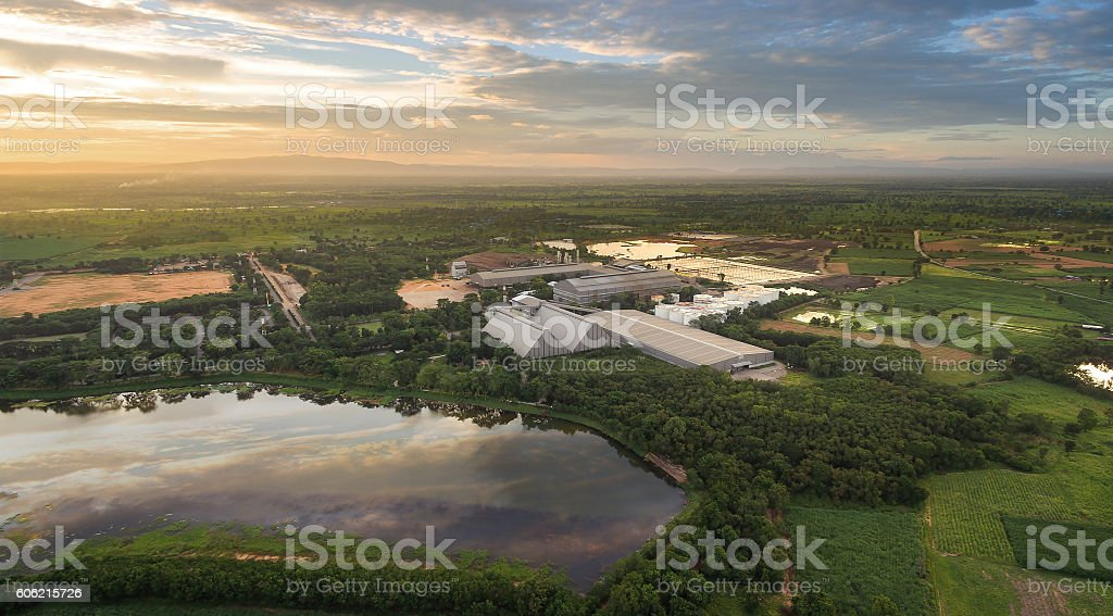 Aerial view of industrial zone thailand stock photo
