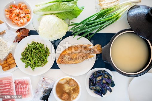 Aerial view of ingredients as part of a traditional Chinese New Year Dinner. Taipei, Taiwan