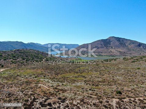 Aerial view of Inland Lake Hodges and Bernardo Mountain, great hiking trail and water activity in Rancho Bernardo East San Diego County, California, USA