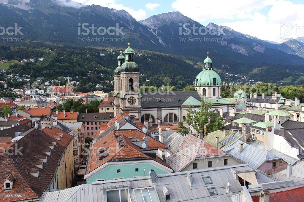 Aerial view of Innsbruck, Austria stock photo