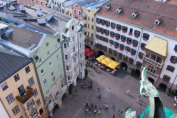 Aerial view of Innsbruck Golden Roof stock photo