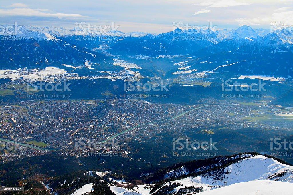 Luftbild von Innsbruck, Igls und Brenner-Pass, Tirol, Österreich – Foto