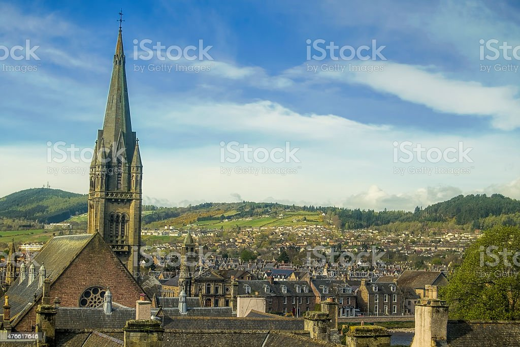Aerial view of Inverness stock photo