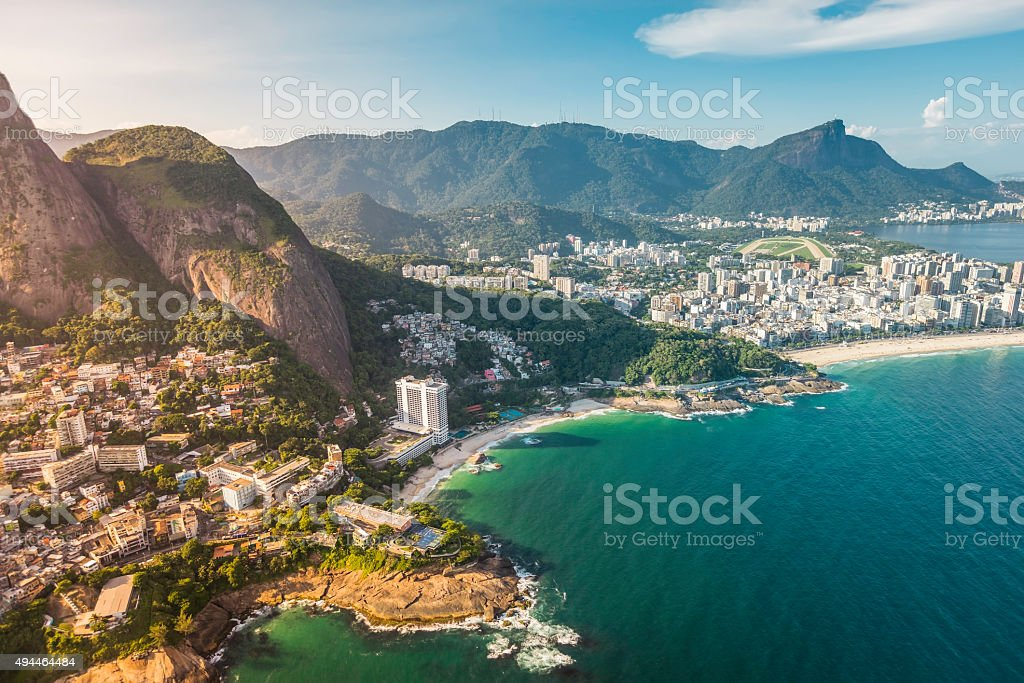 Aerial view of Ipanema Beach in Rio de Janeiro stock photo