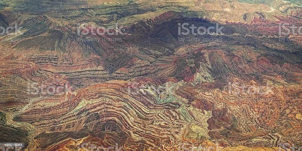 Aerial view of Iranian mountains stock photo
