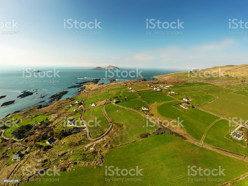Aerial view of Irish westcoast, ring of Kerry stock photo