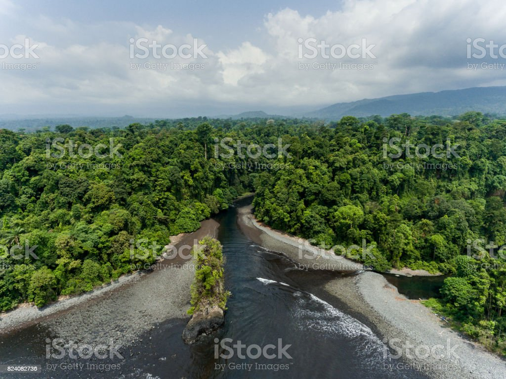 Aerial View of island in Equatorial Guinea in Central Africa stock photo