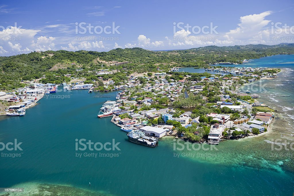 Aerial view of island village stock photo