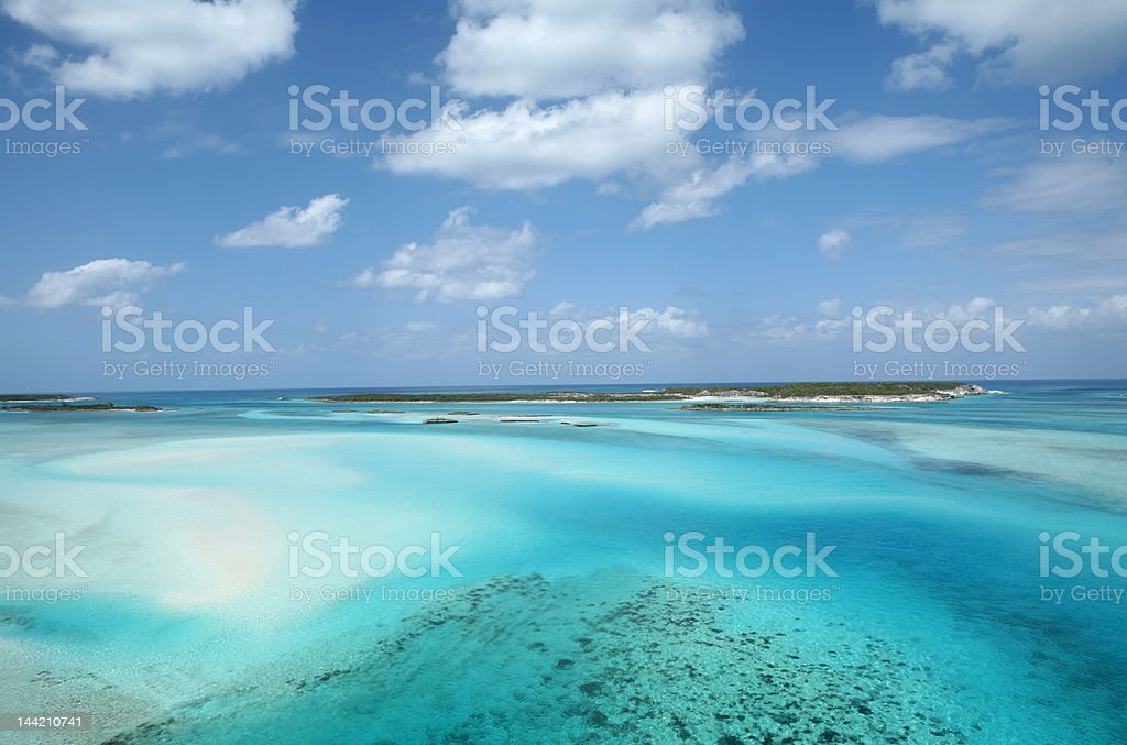 Aerial view of islands and coral reef Bahamas stock photo