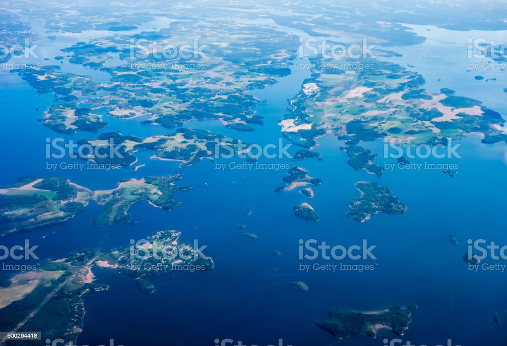 Aerial view of islands on Lake Malar, Sweden. stock photo