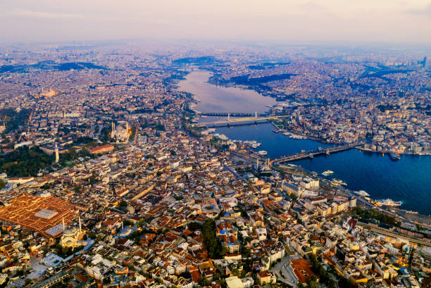 Aerial view of Istanbul at sunrise, Turkey. stock photo