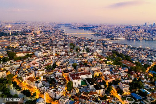 1174016297istockphoto Aerial view of Istanbul at sunrise, Turkey. 1174016301