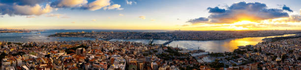 Aerial view of Istanbul at sunset, Turkey(Panorama XXL) Istanbul, City, Cityscape, Dusk, Europe, Sofia, Asia bosphorus stock pictures, royalty-free photos & images