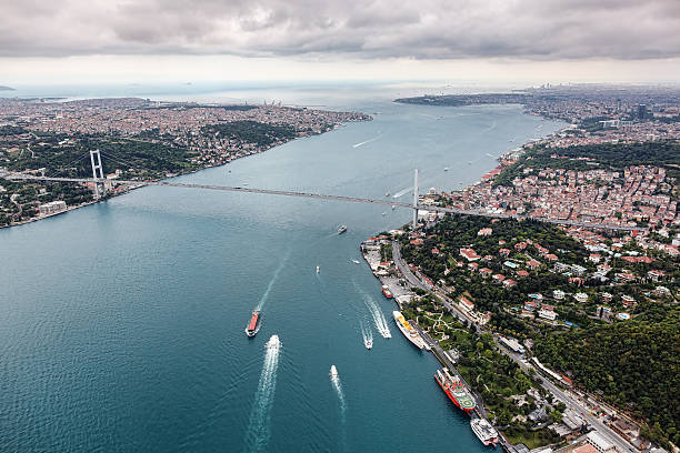 Aerial view of Istanbul. Bosphorus Bridge Aerial view of Istanbul. Bosphorus Bridge bosphorus stock pictures, royalty-free photos & images