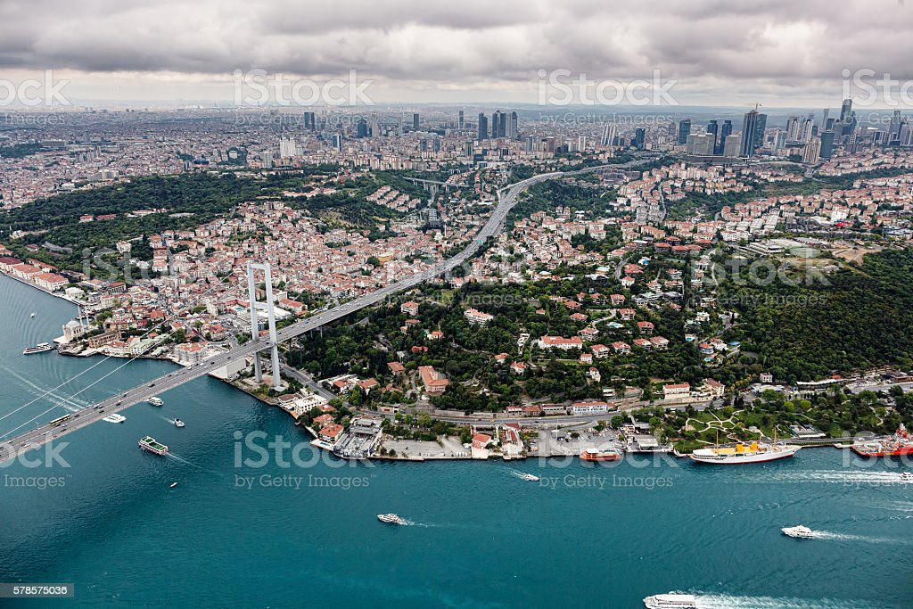 Aerial view of Istanbul. Bosphorus Bridge stock photo