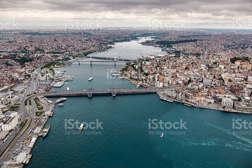 Aerial view of Istanbul. Old city. stock photo