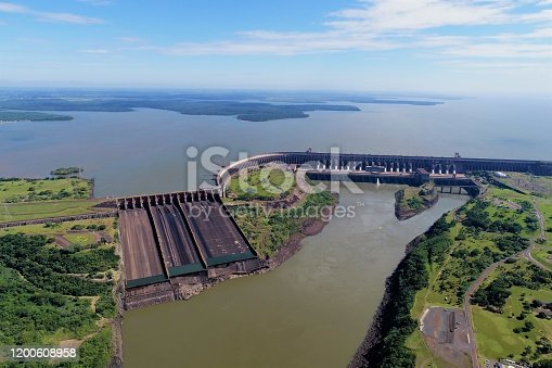 Aerial view of Itaipu's Dam, Foz do Iguaçu, Paraná, Brazil. Great landscape. Energy generation. Hydroelectric scene.