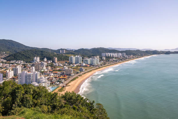 Aerial view of Itajai city and Praia Brava Beach - Balneario Camboriu, Santa Catarina, Brazil stock photo