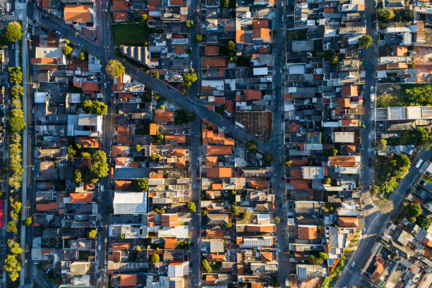 aerial view of itaquera district in sao paulo, brazil - urban sprawl stock photos and pictures