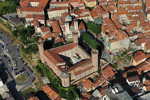 Aerial view of Ivrea castle in sunny day, Turin, Piedmont stock photo