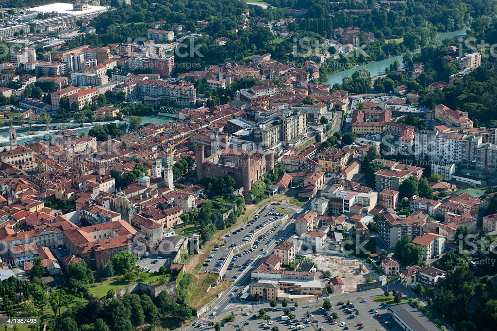 Aerial view of Ivrea, centre of Canavese area, Piedmont royalty-free stock photo