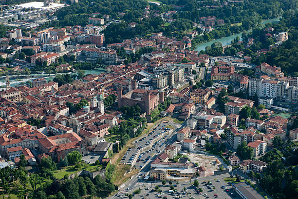 Aerial view of Ivrea, centre of Canavese area, Piedmont stock photo