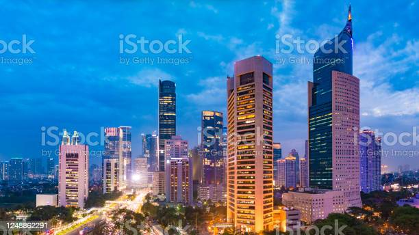 Photo of Aerial view of Jakarta Central Business District at sunset.