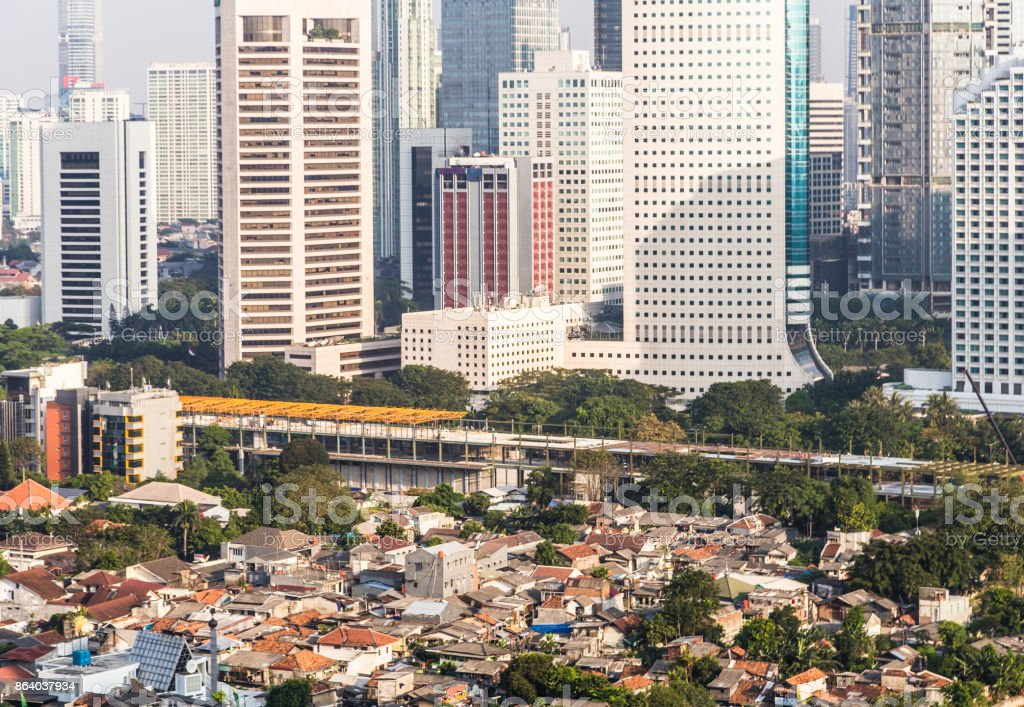 Aerial view of Jakarta financial district, Indonesia capital city in Asia stock photo