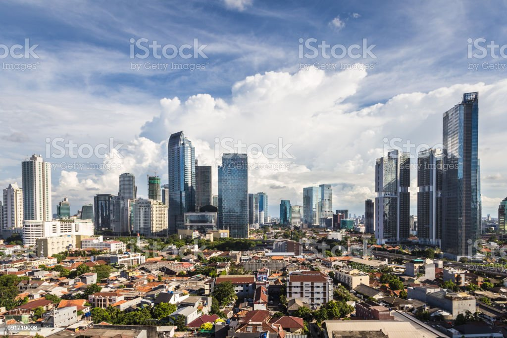 Aerial view of Jakarta, Indonesia capital city stock photo
