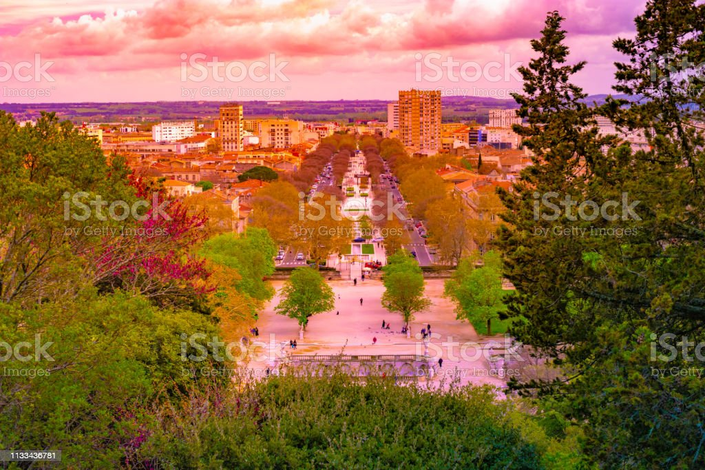 Aerial view of Jardin de la fontaine park in Nimes France stock photo