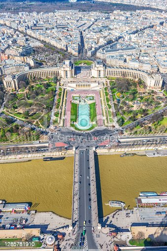 Palais de Chaillot with Seine River in Paris, France