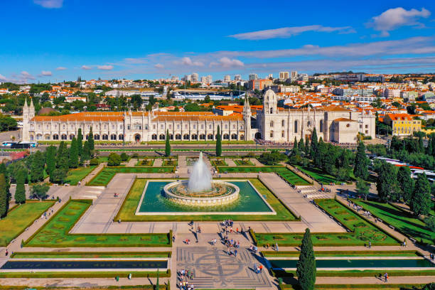 Aerial view of Mosteiro dos Jerónimos in Belem Lisbon stock photo