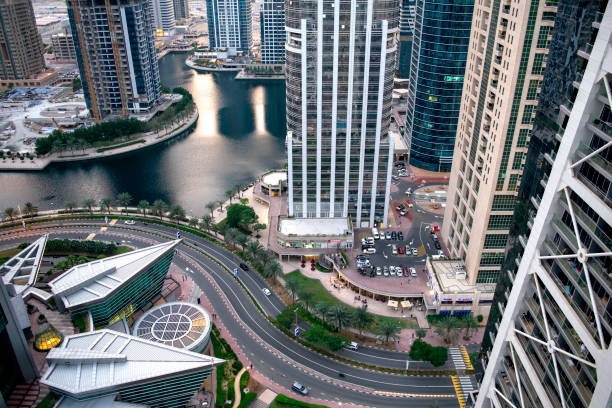 Aerial view of JLT in Dubai. Dubai road traffic. stock photo