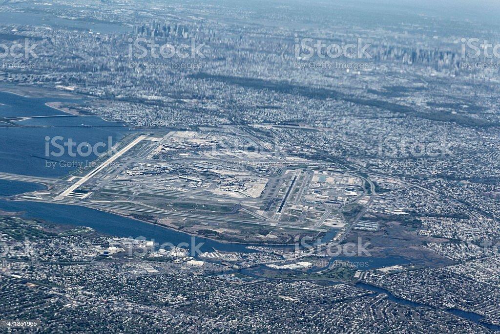 Vista aérea del Aeropuerto Internacional John F. Kennedy - foto de stock
