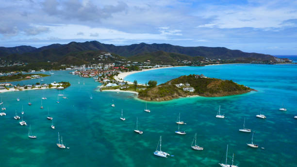 Aerial view of Jolly Harbour Beach, Antigua