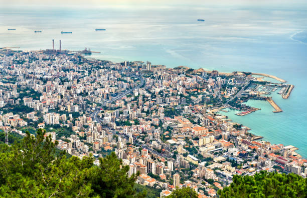 aerial view of jounieh in lebanon - beirut foto e immagini stock