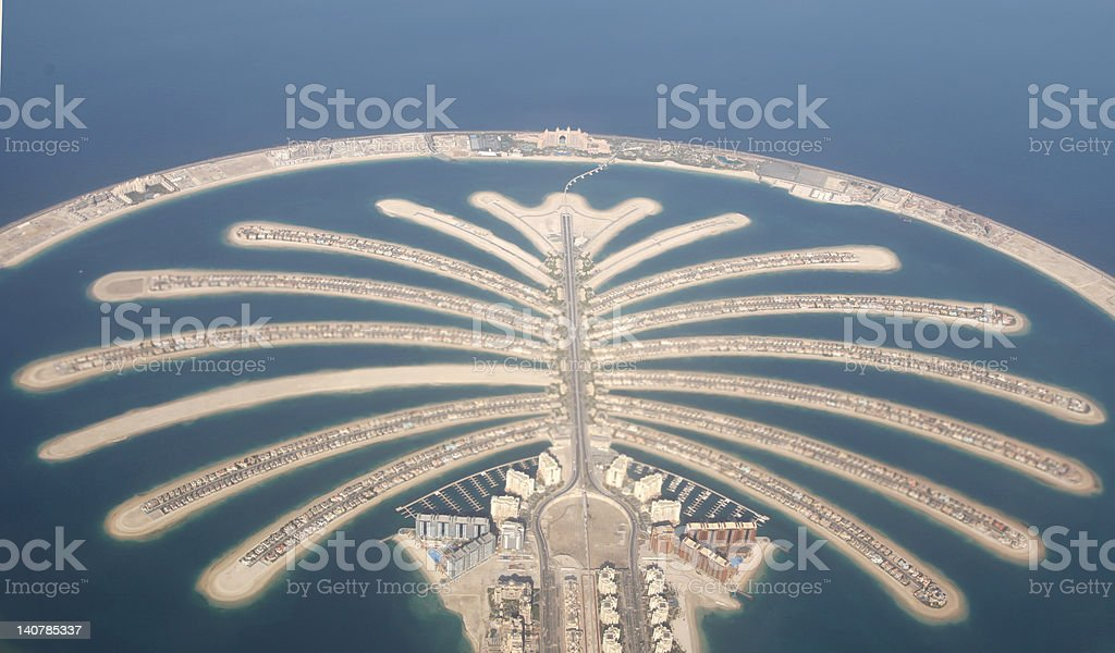 Aerial view of Jumeirah Palm island in Dubai stock photo