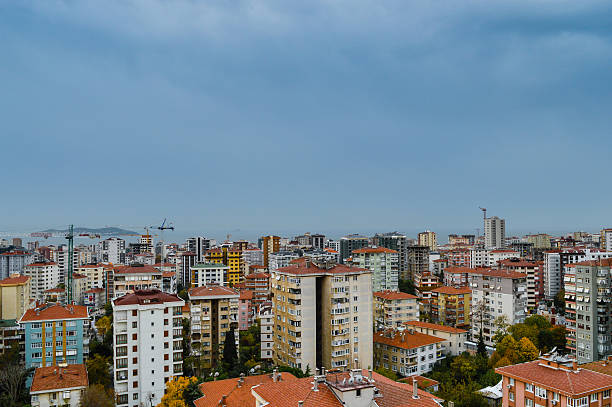 Aerial view of Kadikoy district of Istanbul city stock photo