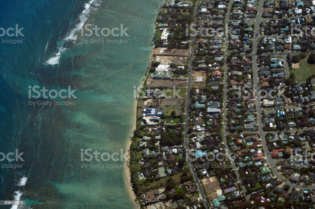 Aerial view of Kahala, Beach and Pacific ocean stock photo