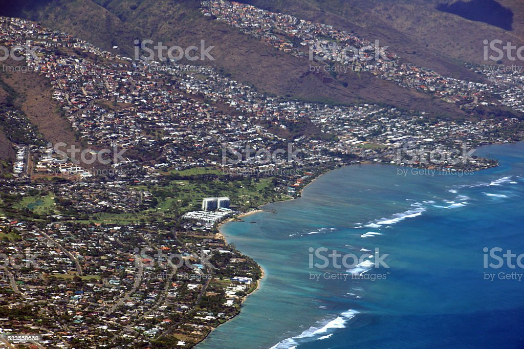 Aerial view of Kahala stock photo