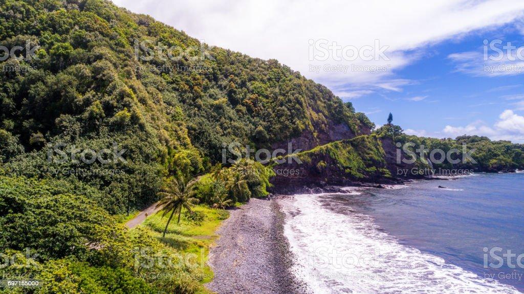 Aerial view of Kalalau Valley, Kauai, Hawaii, USA stock photo