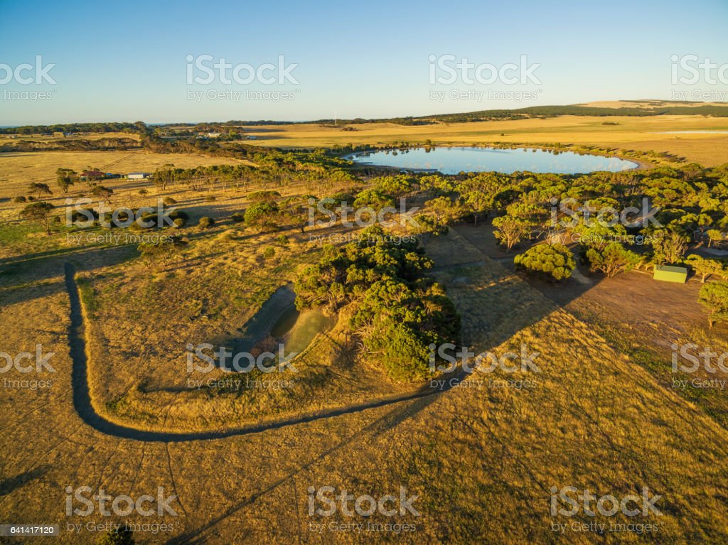 Aerial view of Kangaroo Island rural agricultural area at sunset stock photo