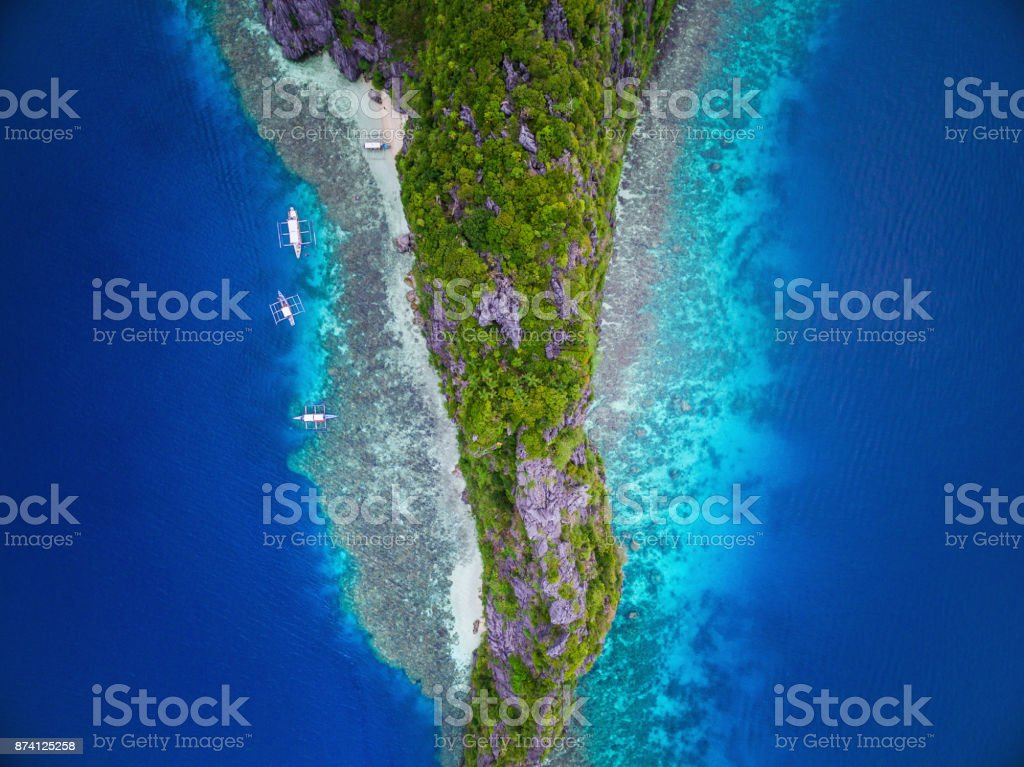 Aerial View of Karst Scenery in El Nido, Palawan, Philippines stock photo